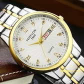 手錶 正品防水精鋼帶韓版時尚潮流石英表男女手表學生女士男表情侶手表【快速出貨八五折】