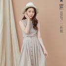 套裝 細線格紋方領背心+琥珀排釦後鬆緊傘襬長裙兩件式組合-BAi白媽媽【301455】