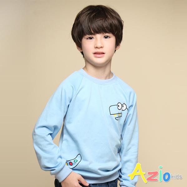 Azio 男童 上衣 立體彩色背鰭恐龍長袖上衣T恤(藍) Azio Kids 美國派 童裝