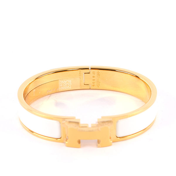 【HERMES】Clic H 白色金釦 琺瑯材質 細版 手環(白色/金釦) HE44000024