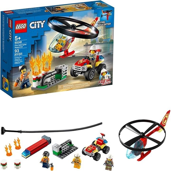 LEGO 樂高 City Fire Helicopter Response 60248 Firefighter Toy Fun Fun Set for Kids New 2020(93 Pieces)