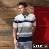 【JEEP】網路限定 簡約亨利領條紋短袖POLO衫 (白)
