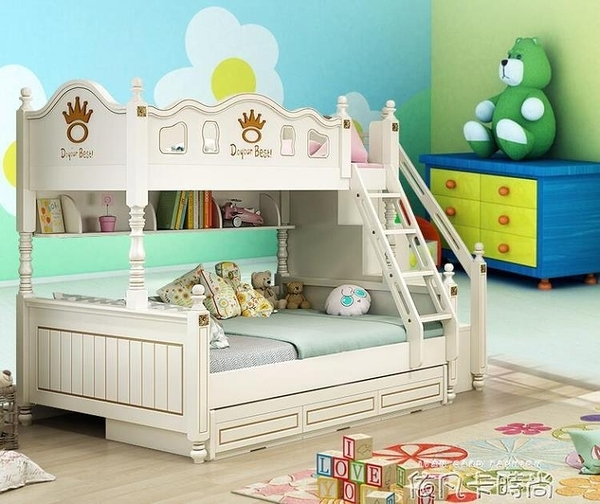 上下床組合實木雙人上下鋪雙層床美式子母床男孩女孩兒童高低床QM 依凡卡時尚