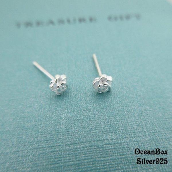 ☆§海洋盒子§☆小巧可愛。迷你玫瑰花造型耳針式純銀耳環 《925純銀》耳骨.耳喔.耳垂