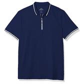 AX阿瑪尼拉鍊門襟短袖Polo(深藍色)