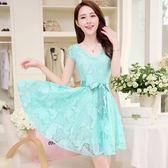 甜美氣質雷絲綁腰帶洋裝  (粉橘  水藍)兩色售  MDD160038