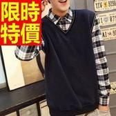 假兩件式襯衫 率性日系-品味優雅長袖男毛衣7色59ac32【巴黎精品】