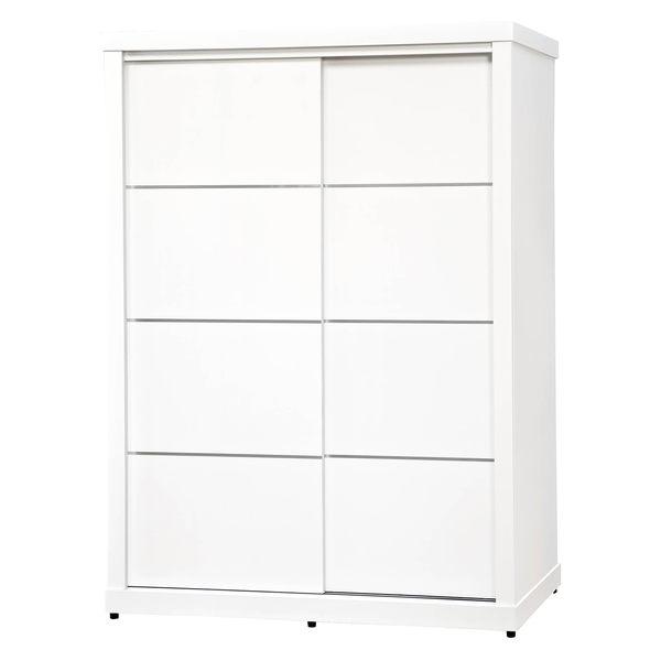 【森可家居】純白色鋁條4.6尺衣櫥 7SB054-1 簡約北歐風 衣櫃 左右推拉門 MIT台灣製造