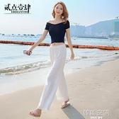 亞麻褲 棉麻紗女褲白色跳舞寬管褲夏季薄款寬鬆防蚊大人海邊度假沙灘褲