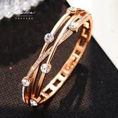 鍍玫瑰金手鐲 女韓版學生森系閨蜜手環 簡約百搭個性潮人情侶飾品