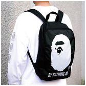 後背包日本潮牌猿人頭後背包防水后背包輕便旅行包時尚書包運動包雜志包  愛丫愛丫