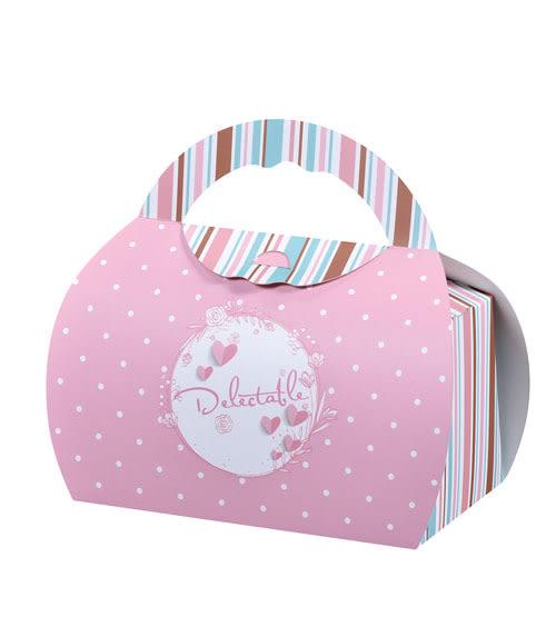 粉紅點點 2入裝小慕斯盒 慕斯包裝盒 手提盒 禮品包裝 手提袋 餅乾袋 蛋糕盒 西點盒C054