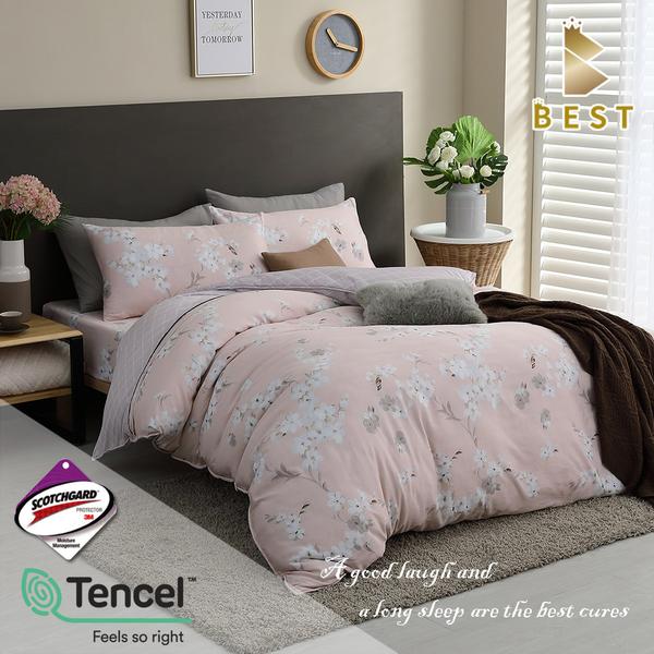 【BEST寢飾】天絲床包兩用被四件組 加大6x6.2尺 蜂之舞-粉 床高35cm 頂級天絲 附TENCEL天絲+3M雙吊牌