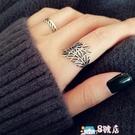 戒指 S925純銀食指戒指女日韓潮人簡約鏤空葉子指環生日禮物韓國飾品 8號店