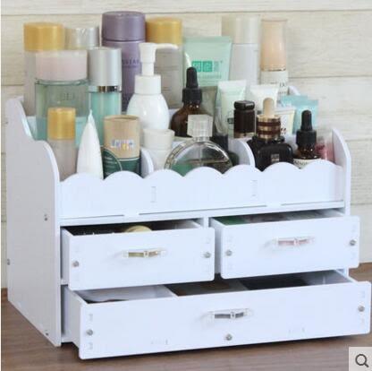 藍格子 木質抽屜式桌面化妝品收納盒 整理盒收納架大號化妝盒架