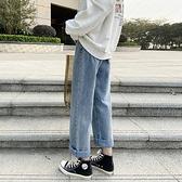 直筒牛仔褲女寬鬆破洞新款高腰顯瘦春裝垂感闊腿百搭老爹褲子 中秋特惠