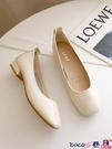 熱賣低跟鞋 純色單鞋女2021春季新款韓版百搭舒適淺口方頭奶奶鞋仙女風豆豆鞋 coco