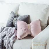 靠枕北歐純色簡約刺繡床頭沙發靠背靠墊蝴蝶結【繁星小鎮】