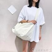 健身包 韓國原創輕便帆布包側背斜背包女休閒百搭大容量行李袋健身包書包 爾碩