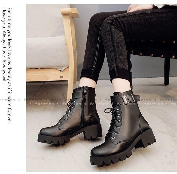 現貨+快速★馬丁靴 粗跟厚底系帶皮帶扣黑色短靴★ifairies【65740】