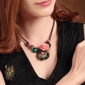 云南民族風項鍊短款魚花朵裝飾品復古掛件配飾鎖骨鍊女情人節禮物