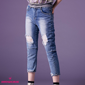 【SHOWCASE】潮流刷破洗白後膝開洞剪接七分牛仔褲(藍)