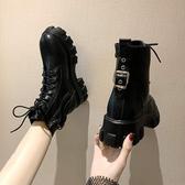 黑色馬丁靴女2020秋冬新款ins時尚百搭鬆糕厚底增高復古帥氣短靴 伊蘿