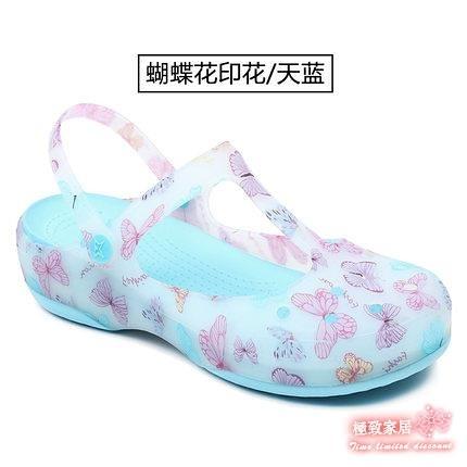 女士洞洞鞋 厚底楔形花園沙灘鞋果凍涼鞋平底防滑海邊度假厚底涼拖鞋【快速出貨】