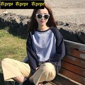 長袖-韓版百搭撞色簡約寬鬆長袖T恤 衣普菈
