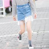 女童牛仔半身裙2019夏季新款兒童時尚韓版網紗拼接牛仔裙 QW3858『夢幻家居』
