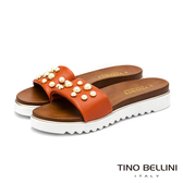 Tino Bellini義大利進口金屬珍珠厚底拖鞋_橘紅 VI9063 歐洲進口