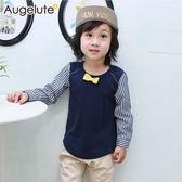 男童 假兩件 長袖 小領結 條紋 拼接袖 上衣 小紳士 小花童 Augelute 47132