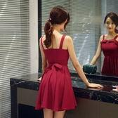 紅裙無袖復古收腰雪紡百褶吊帶洋裝文藝范小清新 伊衫風尚