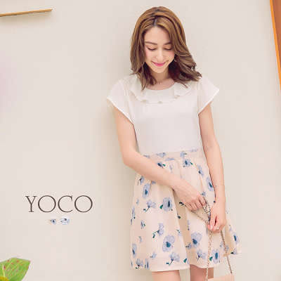 東京著衣【YOCO】普羅旺斯女孩波浪領印花短袖洋裝-XS.S.M(6006052)