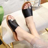 韓版涼拖鞋女夏時尚外穿百搭平底室外一字型夾腳防滑軟底 港仔會社