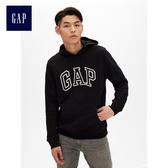 Gap男裝 Logo長袖套頭連帽休閒上衣 488108-純正黑