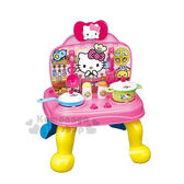 〔小禮堂〕Hello Kitty 兒童廚房遊戲組《粉黃藍.桌子.大臉.廚具.食物》親子互動遊戲 4971404-31383