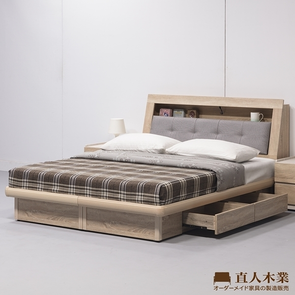 日本直人木業-水舞原切木收納圓框護邊兩抽雙人6尺床組(兩抽可以放左邊或右邊)