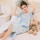 睡裙睡衣 浴衣睡裙女棉質短袖可愛卡通韓版公主寬鬆甜美睡衣女家居服 免運快速出貨