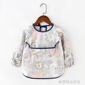兒童罩衣防水長袖反穿衣寶寶吃飯衣圍裙純棉小孩罩衣嬰兒圍兜護衣 夢露時尚女裝
