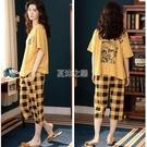 睡衣女夏季新款韓版短袖短褲休閒寬鬆大碼學生可愛外穿套裝家居服
