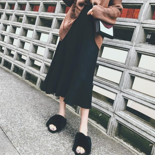 韓版黑色毛線針織a字裙中長款高腰裙子百褶半身長裙女 沸點奇跡10-9