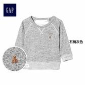 Gap男嬰兒 布萊納小熊刺繡套頭圓領長袖休閒上衣 362912-石楠灰色