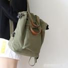 日系ins風純色後背包女新款時尚書包女韓版高中背包女後背 居家物语