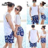 寬鬆沙灘褲男大碼海邊度假印花短褲女情侶速干平角泳褲套裝大褲衩
