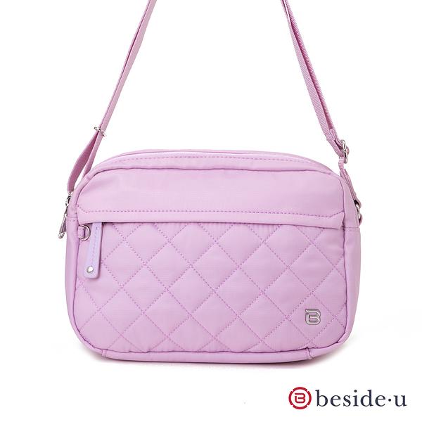 BESIDE-U Nutopia Oasis氣質菱格雙拉鍊斜背包-粉光色