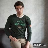 【JEEP】Wander Free品牌造型長袖TEE 橄欖綠  (合身版)