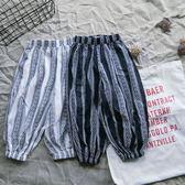 85折夏季兒童防蚊褲女?條紋個性哈倫褲闊腿褲潮99購物節