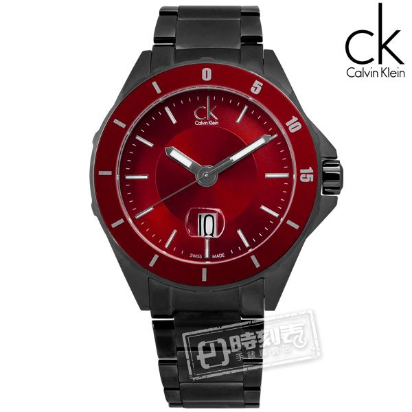 CK / K2W21V4P / 完美霸氣日期不鏽鋼腕錶 紅x鍍黑 44mm