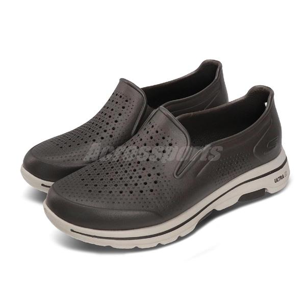 Skechers 休閒鞋 Go Walk 5-Easy Going 咖啡 灰 男鞋 水鞋 排水設計 套入式 懶人鞋【PUMP306】 243000OLV